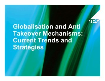 Globalisation and Anti Takeover Mechanisms Current Trends and Strategies