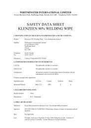 SAFETY DATA SHEET KLENZEEN 90% WELDING WIPE