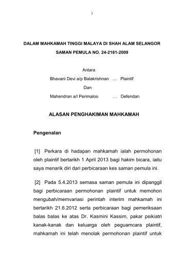 [1] Perkara di hadapan mahkamah ialah permohonan oleh plaintif ...