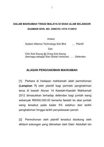[1] Perkara di hadapan mahkamah ialah permohonan - selangor ...