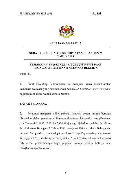 Surat Pekeliling Perkhidmatan Bilangan 9 Tahun 2013 Jpa