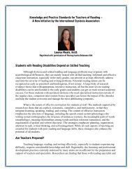 Knowledge and Practice Standards for Teachers of Reading -- A ...