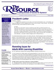 Spring 2003 - Inland Empire Branch of the International Dyslexia ...