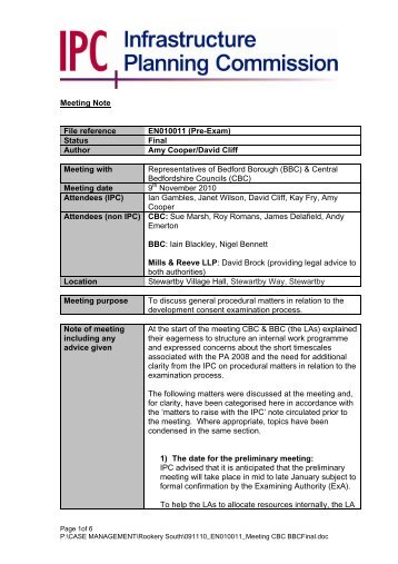 Meeting Note File reference EN010011 (Pre-Exam) - National ...