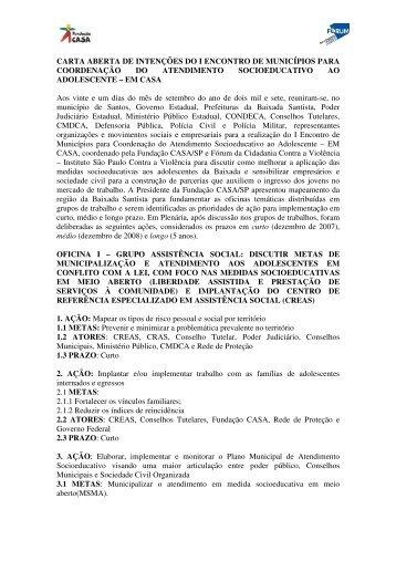 CARTA ABERTA DE INTENÇÕES DO I ... - Fundação CASA
