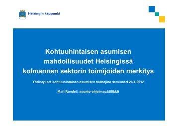 mahdollisuudet Helsingissä kolmannen sektorin toimijoiden merkitys