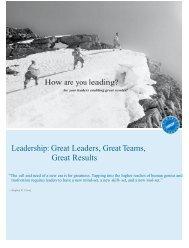 Leadership Great Leaders Great Teams Great Results