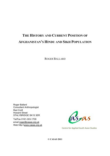 the history and current position of afghanistan's hindu and