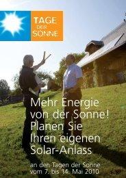 Mehr Energie von der Sonne! Planen Sie Ihren eigenen Solar-Anlass