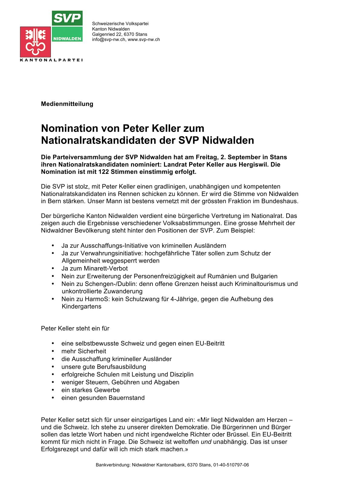 4 free Magazines from SVP.NW.CH