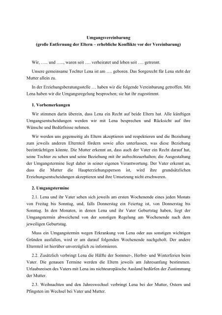 Elternvereinbarung De Umgangsvereinbarung Muster