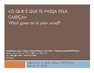 «O QUE É QUE TE PASSA PELA CABEÇA» What goes on in your mind?