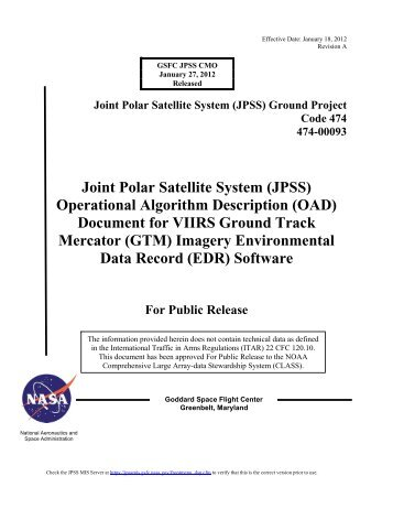 (OAD) Document for VIIRS Ground Track Mercator (GTM) - NASA