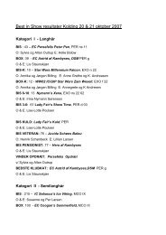 Best in Show resultater Kolding 20 & 21 oktober 2007