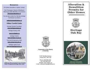 Alteration & Demolition Permits for Older Homes Heritage Oak Bay
