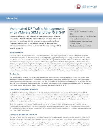 Automated DR Traffic Management with VMware SRM - F5 Networks