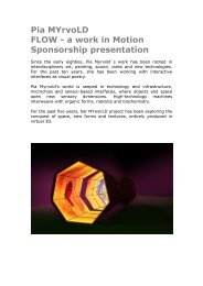 Pia MYrvoLD FLOW - a work in Motion Sponsorship presentation