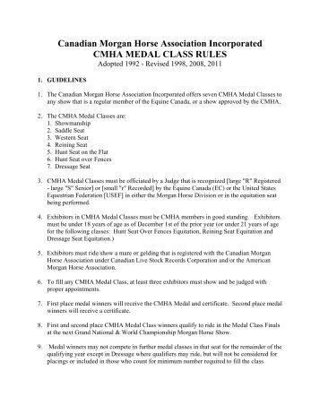 Canadian Morgan Horse Association Incorporated CMHA MEDAL CLASS RULES