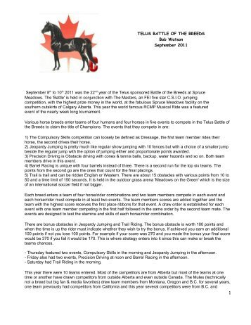 Download the 2011 Championship story! - Canadian Morgan Horse ...