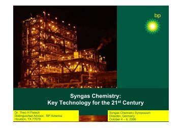 Syngas Chemistry: Key Technology for the 21st Century