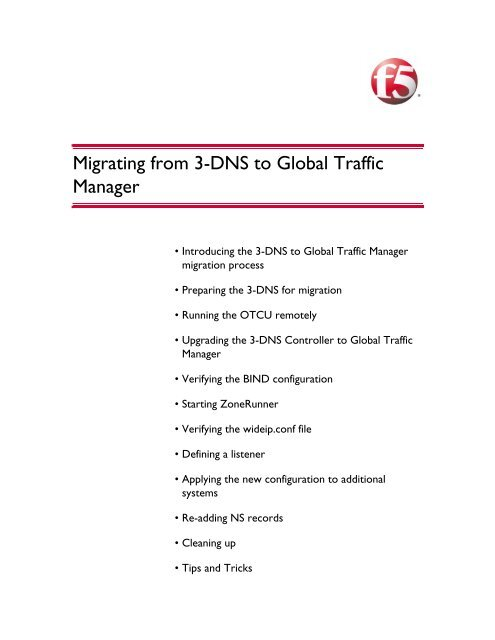 Migrating from 3-DNS to Global Traffic Manager - F5 Networks