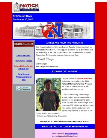 NHS - Weekly News 9-18-15
