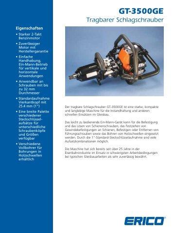 GT-3500GE Spezifikationen Schlagschrauber Basismaschine - Erico