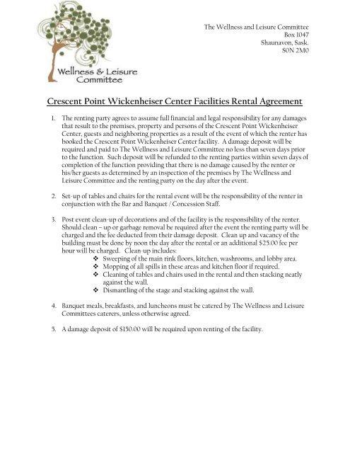Crescent Point Wickenheiser Center Facilities Rental Agreement