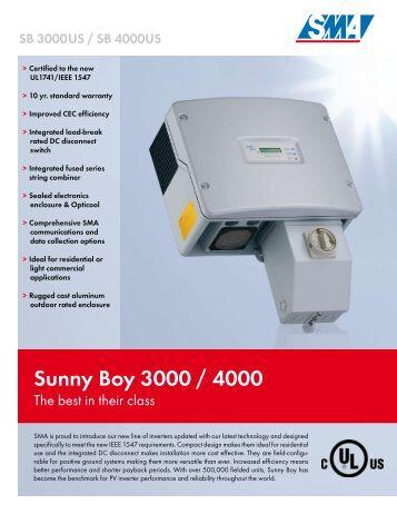 sunny boy 3000 4000 sunwize technologies inc. Black Bedroom Furniture Sets. Home Design Ideas