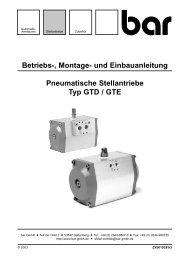 Betriebs-, Montage- und Einbauanleitung Pneumatische - bar GmbH