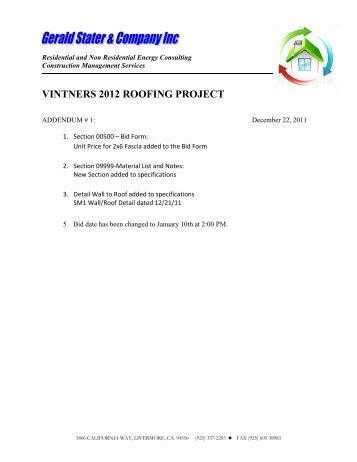 VINTNERS 2012 ROOFING PROJECT