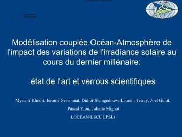 Modélisation couplée Océan-Atmosphère de l'impact des ... - IPSL