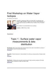 First Workshop on Water Vapor Isotopes Topic 1 : Surface ... - IPSL