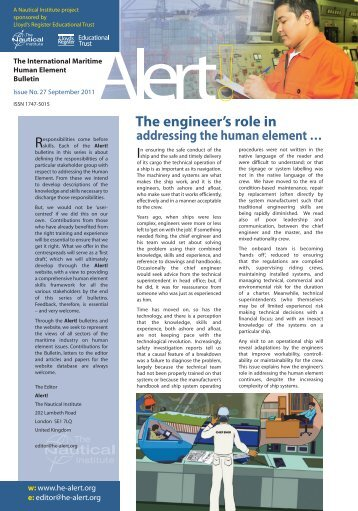 Responsibilities The engineer's role in In
