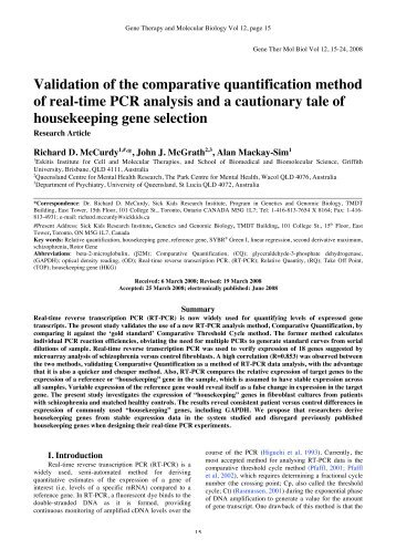 Validation of the comparative quantification method of real-time PCR ...