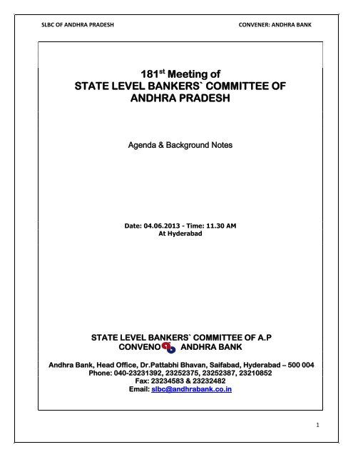 181 Meeting of STATE LEVEL BANKERS` COMMITTEE OF ANDHRA PRADESH