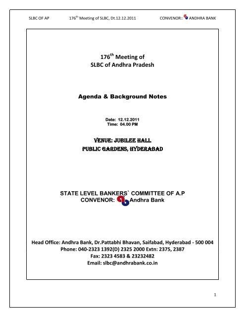 176 Meeting Of Slbc Of Andhra Pradesh Bankers