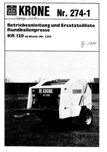 iebsanleitung und Ersatzte ' Rundballenpresse - Agromix