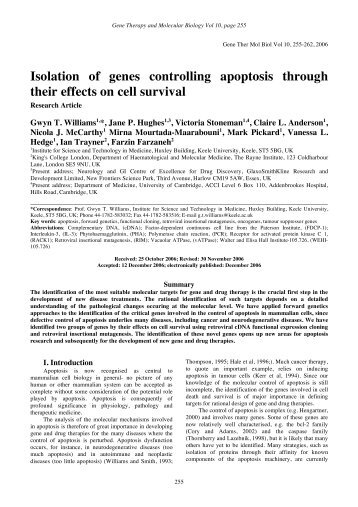 Isolation of genes controlling apoptosis through their effects on cell ...