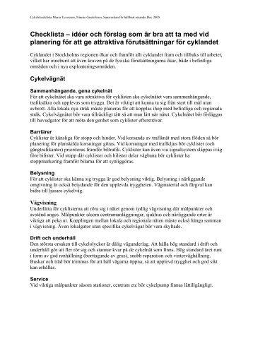 Checklista – idéer och förslag som är bra att ta med vid planering för ...