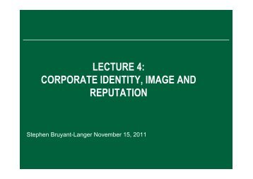 LECTURE 4 CORPORATE IDENTITY IMAGE AND REPUTATION