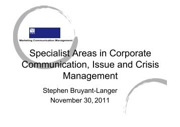 Specialist Areas in Corporate Communication Issue and Crisis Management