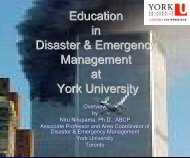 York University Education in Disaster & Emergency Management