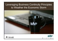 Leveraging Business Continuity Principles to Weather the Economic Storm