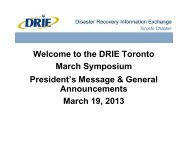 Opening Slides For DRIE Toronto March 2013 Quarterly - Disaster ...