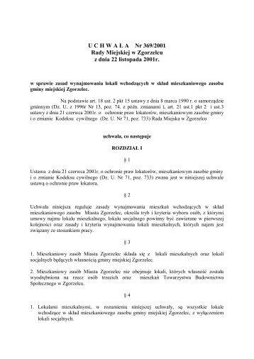 U C H W A Ł A Nr 369/2001 Rady Miejskiej w Zgorzelcu z dnia 22 listopada 2001r
