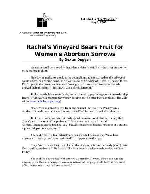 Rachel's Vineyard Bears Fruit for Women's Abortion Sorrows