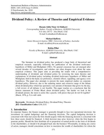 A Review of Theories and Empirical Evidence - EuroJournals