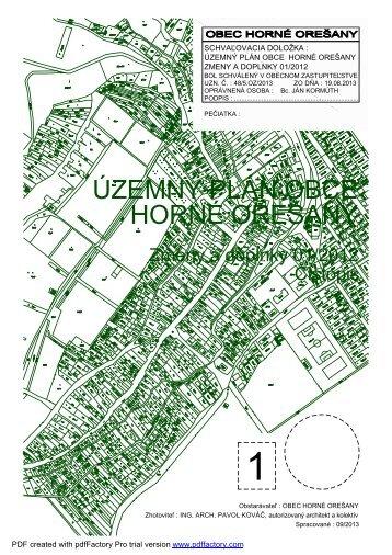 Zmeny a doplnky 01/2012 - čistopis, obálka - Obec Horné Orešany