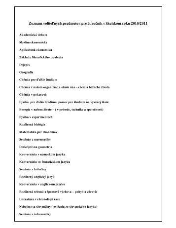 Zoznam voliteľných predmetov pre 3 ročník v školskom roku 2010/2011